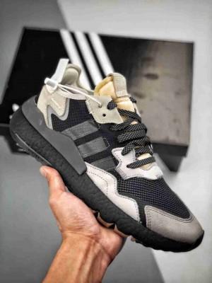 Adidas Nite Jogger 2019 黑灰 复古跑鞋原厂材料 原厂大底   私家独模 网布搭配麂皮拼接打造的鞋面,极具复古风格。