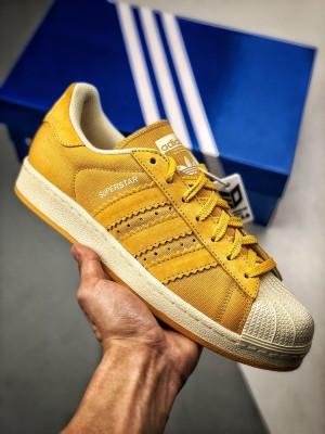 #日本YAHOO渠道订单 海淘专供 贝壳头卖家任意操作挂牌版本 adidas Superstar 80s 黄麂皮