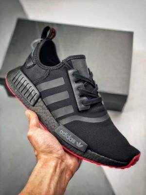 【渠道正品订单 专柜同步上架】 Adidas NMD R1 Logo 专柜同步 网面限定黑白 原装进口Boost原料