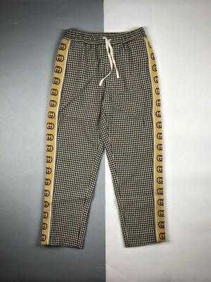Gucci/古驰 20ss 千鸟格反光G条纹长裤