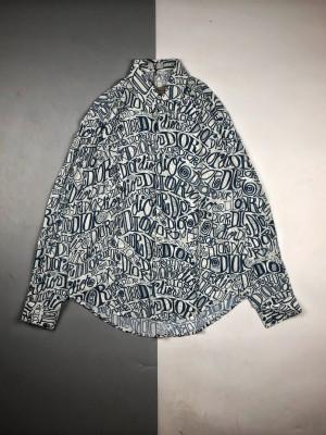 Dior迪奥×Stussy限量联名满印涂鸦LOGO字母真丝衬衫