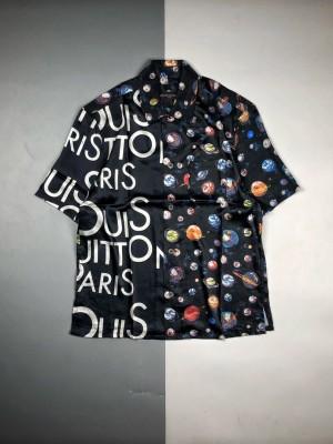 驴牌 星空系列 刘昊然同款  星空拼接字母短袖蚕丝衬衫