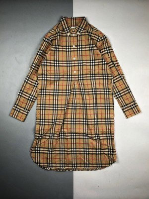 Burberry/博柏利 20ss 经典格纹收腰系带长袖衬衫连衣裙
