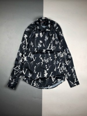 1V 20ss 早秋最新3D满印麦穗花卉长袖衬衫