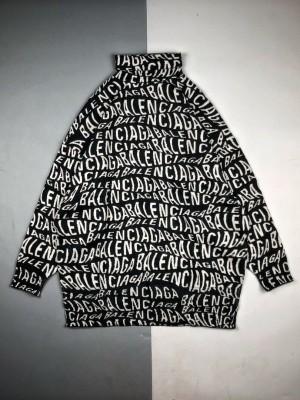 Balenciaga巴黎世家 19Fw弹幕Logo高领羊毛衣