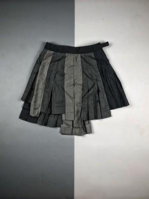 Thom Browne 拼接不规则羊毛百褶短裙