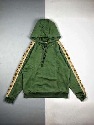 高端零售版本🧐 Gucci/古驰 20Fw 反光G条纹织带长袖连帽卫衣
