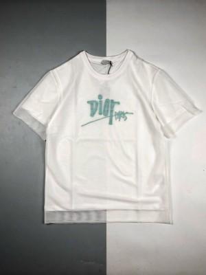 Dior 20ss 网纱LOGO刺绣短袖