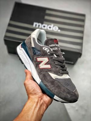 New Balance 998 灰红蓝 美产男子复古休闲鞋