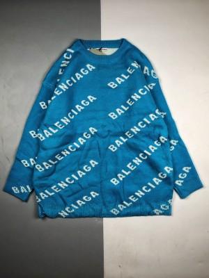 Balenciaga/巴黎世家 20ss 徽标字母满纹羊毛圆领长袖卫衣