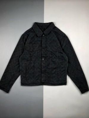1v 20ss 黑色暗纹提花字母Logo牛仔长袖外套
