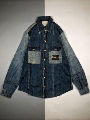 Gucci/古驰 20Fw 水洗补丁拼色长袖牛仔外套