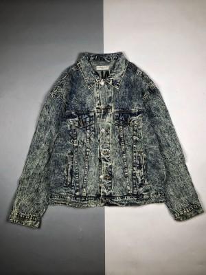 Balenciaga/巴黎世家20Fw背后刺绣字母牛仔长袖外套