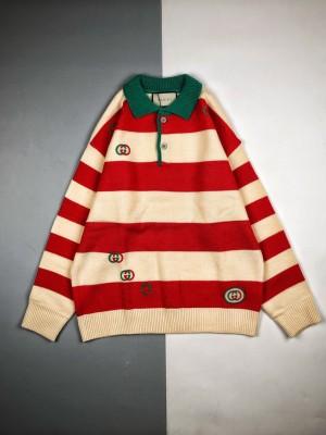 G家 19Fw Polo领Logo刺绣条纹毛衣