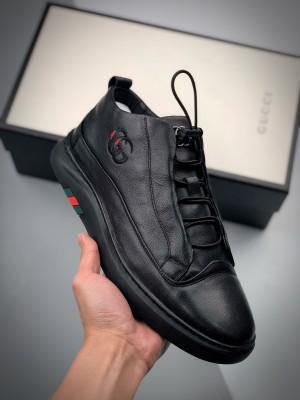 G家 Screener GG High-Top Sneaker 20ss秋冬新款鸵鸟皮角状复古休闲板鞋