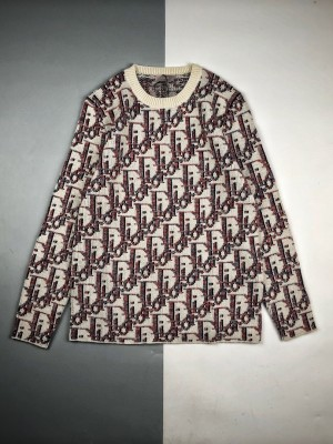 Dior & Stussy 20Fw 提花徽标长袖圆领卫衣毛衣