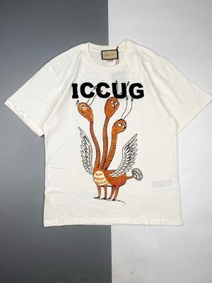 Gucci/古驰 21ss 抽象怪兽系列三头鸟印花短袖