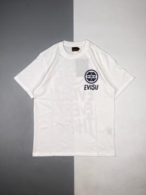 Evisu/ 福神 21ss 家花与笔刷格言印花短袖
