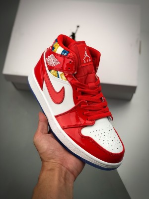 Air Jordan 1 Mid 白红拼接