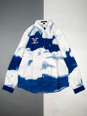1v 21ss 蓝天云朵扎染长袖衬衫
