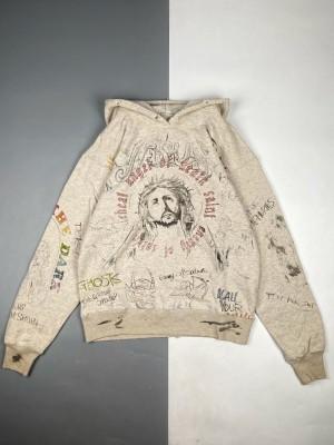 Saint Michael 20Fw 隐性涂鸦印花做旧破坏连帽卫衣