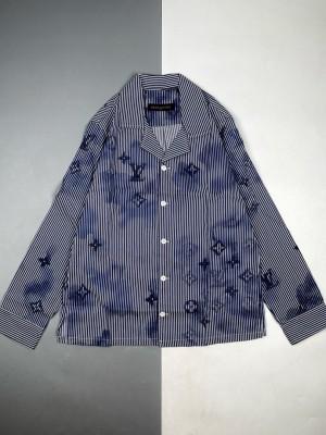 1v 21Fw  水墨老花徽标印花长袖睡衣衬衫