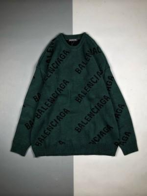 Balenciaga/巴黎世家 19Fw 弹幕Logo提花羊毛长袖圆领卫衣