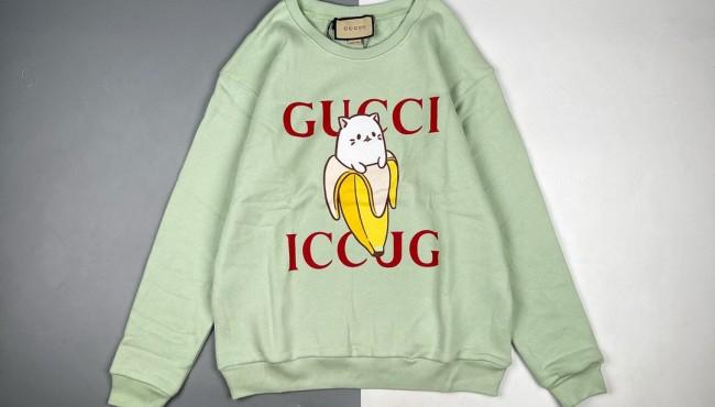 Gucci/古驰 21Fw 香蕉猫咪印花圆领卫衣